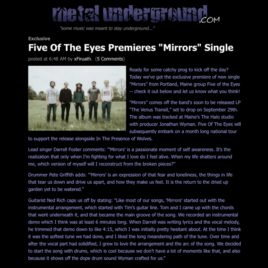 FIve of the Eyes, Mirrors single premiere on Metal Underground